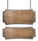 Medieval wood signs set with chain 3d illustration - 193107043