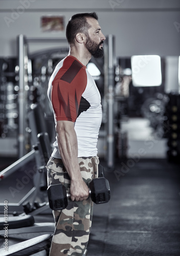 Sticker Man doing workout with dumbbells