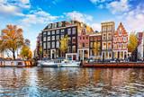 Channel in Amsterdam Netherlands houses river Amstel landmark - 193114633