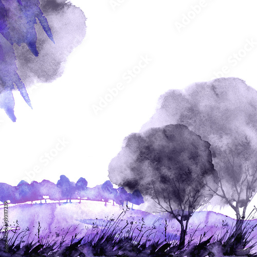 Watercolor banner, logo, postcard. purple  silhouette of a tree, maple, oak, birch, poplar, linden. Watercolor landscape, black, purple   splash of paint, abstract spots, beautiful drawing. - 193117239