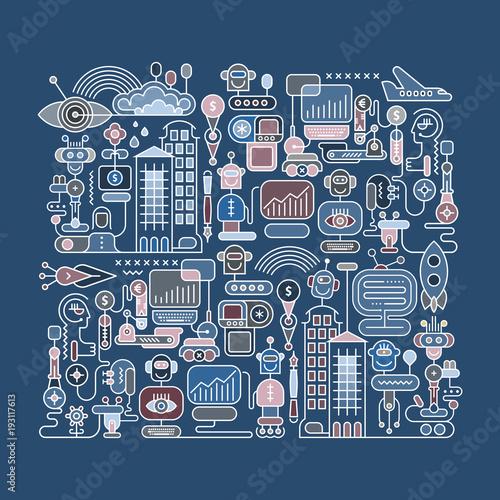 Fotobehang Abstractie Art Robot City vector illustration