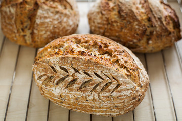 Rustic home bread with different shapes