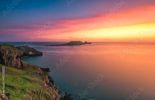Foto op Aluminium Zee zonsondergang Wormshead Blust