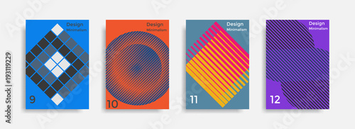 Covers templates collection with graphic geometric shapes - 193119229