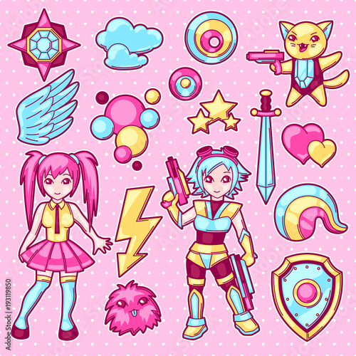 Set of japanese anime cosplay objects. Cute kawaii characters and items - 193119850