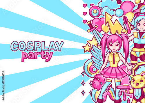 Japanese anime cosplay party invitation. Cute kawaii characters and items - 193120226