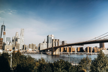 View at Brooklyn Bridge in a sunny day