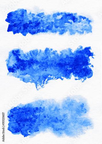 Watercolor. Blue abstract painted ink strokes set on watercolor paper. Ink strokes. Flat kind brush stroke. © gedzun