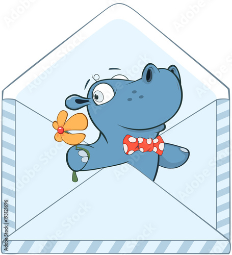 Tuinposter Babykamer Illustration of a Cute Little Hippo Cartoon Character