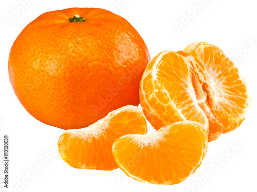 tangerine or mandarin fruit isolated on white background - 193128039