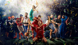 players of different sports on the football stadium 3D rendering - 193128467