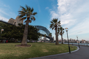 Sydney Harbour Bridge view from the Hickson Reserve.