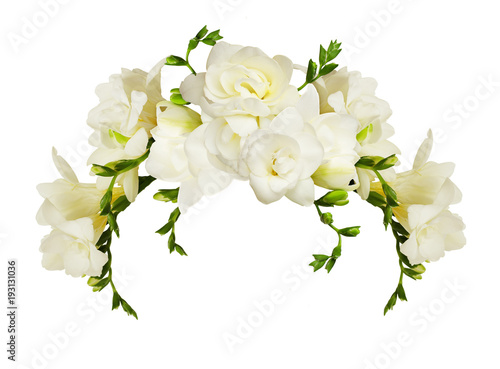 White freesia flowers in a beautiful arch arrangment buy photos white freesia flowers in a beautiful arch arrangment mightylinksfo