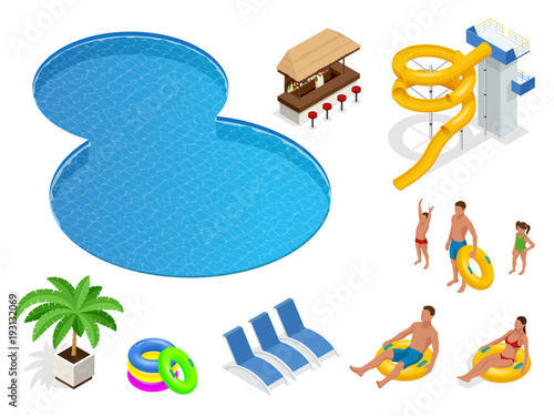 Isometric set icons of Summer water park holiday . Swimming pool and water slides. Vector illustration isolated on white background - 193132069
