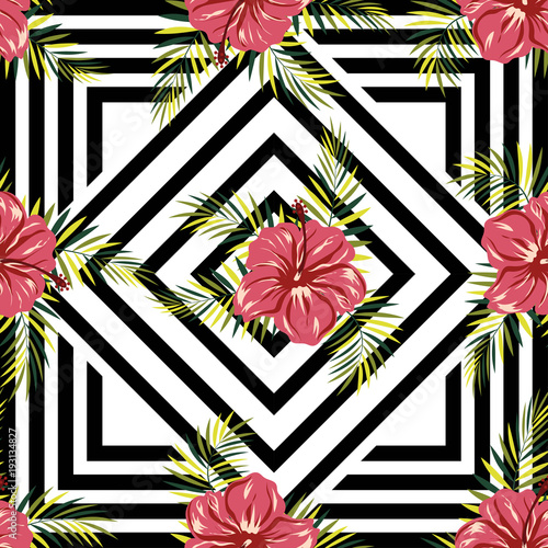 pattern flowers on geometric background - 193134827