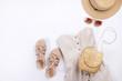 Modern fashionable look for stylish fashion blog lookbook. Flat lay of stylish clothing for woman magazine.