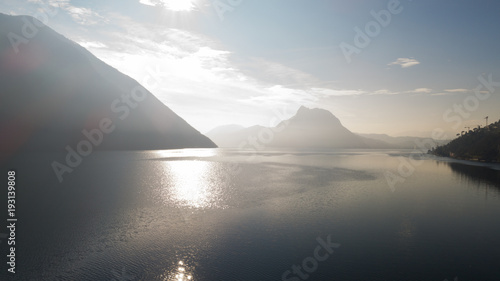 Poster Landscape of Lake Lugano, fog