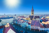 Aerial panoramic view of beautiful Lutheran Cathedral and architecture of Sibiu, in Transylvania, Romania - 193142032