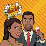 Fashion couple with speak bubble pop art cartoon colorful vector illustration graphic design - 193144244