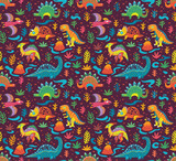 Seamless Pattern  Cute Little Cartoon Dinosaurs And Flowers Ideal For Kids Art Prints And Surface Wall Sticker