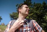 Caucasian man under hot bright sun. - 193148869