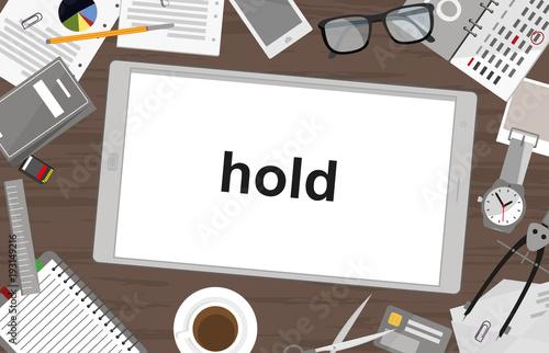 Schreibtisch mit Tablet - halten