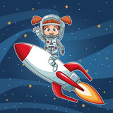 Girl on space with rocket cartoon vector illustration graphic design childhood space party - 193149689