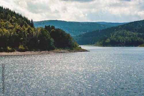 Papiers peints Bleu vert Water Reservoir Grane Dam (Granetalsperre) National Park Harz
