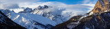 Panoramic view of the Pelvoux mountain range (Pelvoux and Sialouze glaciers) in the Ecrins National Park. Hautes-Alpes, Alps, France - 193150674
