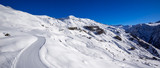 Panoramic view of the slopes of Orcieres-Merlette ski resort in Winter. Hautes-Alpes, Ecrins National Park, Champsaur, Alps, France - 193150696