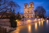 Notre Dame de Paris Catheral at dusk with the overflowing Seine River, 4th Arrondissement, Paris, France - 193150828
