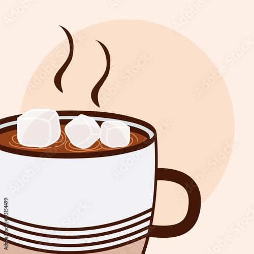 Sticker Hot coffee with sugar cubes cartoon close up