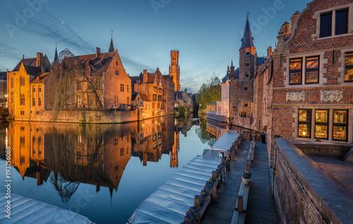Deurstickers Brugge Historic city of Brugge in twilight, Flanders, Belgium