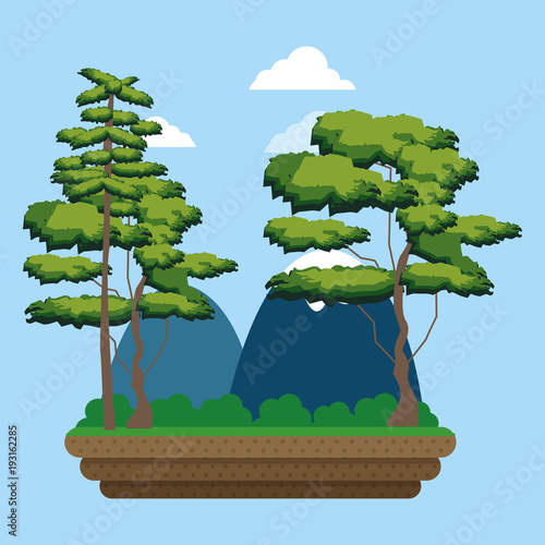 In de dag Blauwe hemel Mountains and trees landscape cartoon vector illustration graphic design
