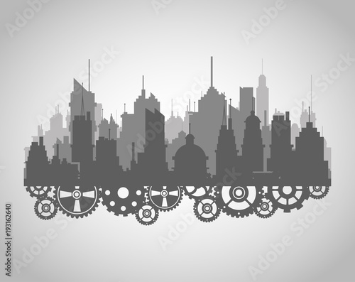 City silhouette with gears vector illustration graphic design