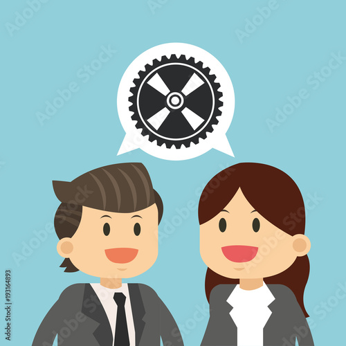 Business teamwork gear bubble vector illustration graphic design