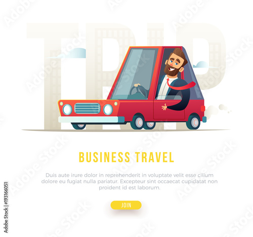 Plexiglas Auto Cheerful bearded businessman in suit driving a car. Concept business travel illustration.