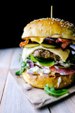 Appetizing cheeseburger on wooden table. Flat lay. Food photography - 193166840