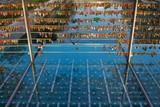Hundreds of love locks hanging on the bridge in Ljubljana, Slovenia - 193167465