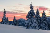 Fantastic orange winter landscape in snowy mountains glowing by sunlight. Dramatic wintry scene with snowy trees. Christmas holiday concept. Carpathians mountain - 193168422
