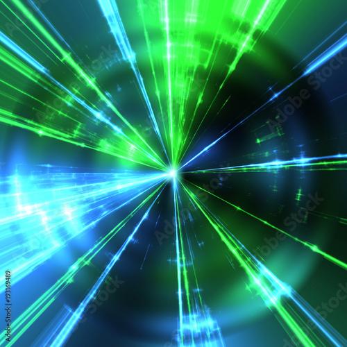 zielone i niebieskie promienie laserowe