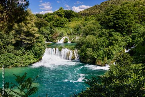 water and waterfall at Krka National Park, Croatia