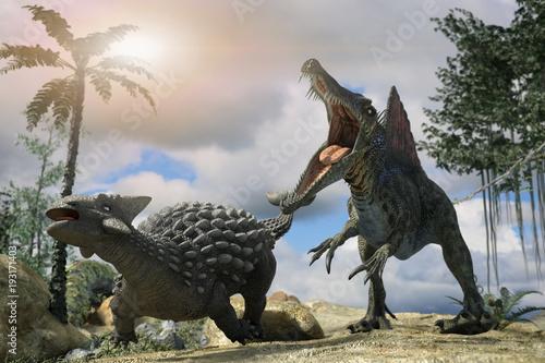 3d-ilustracja-bitwy-miedzy-dwoma-prehistorycznymi