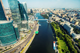 Aerial view of Moscow with Moskva River, Russia