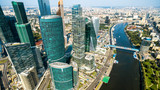 Aerial panoramic view of Moscow with Moskva River, Russia