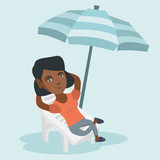 Young african-american woman sitting on the chaise-longue under beach umbrella. Happy woman resting on the chaise-longue with folded arms behind her head. Vector cartoon illustration. Square layout.