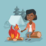 Young african girl roasting marshmallows over campfire on the background of camping site with a tent. Girl sitting near campfire and roasting marshmallows. Vector cartoon illustration. Square layout.