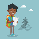 Young african-american traveler woman with backpack and binoculars looking at map. Full length of smiling traveler woman searching right direction on a map. Vector cartoon illustration. Square layout.