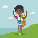 Young african-american tourist with a backpack standing on the cliff with raised hands and enjoying the scenery. Happy tourist hiking in the mountains. Vector cartoon illustration. Square layout.