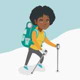 African mountaineer climbing a snowy ridge with help of hiking poles. Young mountaineer with a backpack and trekking poles walking up along a snowy ridge. Vector cartoon illustration. Square layout.